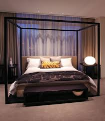 black iron bed frame with canopy combinatin with black stained