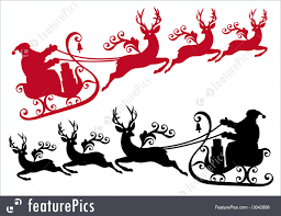 christmas jeep silhouette santa with sleigh and reindeer vector