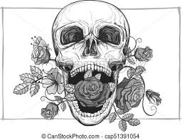 screaming skull with roses screaming skull with clipart