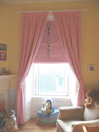 Pink Curtains For Nursery by Window Treatments Nursery Pink Painted Wall Beige Blockout Curtain