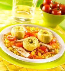 cuisiner coeur d artichaut salade multicolore au maïs et coeurs d artichauts recette géant vert