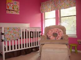 interior gorgeous pink baby nursery with pink wall paint color