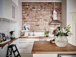Stainless Steel Brick Backsplash by Brick Wall Kitchen Images Brown Wooden 2 Chair On The Floor
