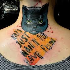 black cat face tattoo on neck back tattoos book 65 000 tattoos