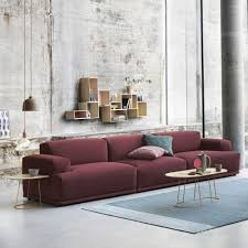 Leather Area Rugs Home Design Muuto Leather Sofa With Decorative Pillows Also Shag