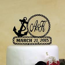 nautical cake toppers nautical theme wedding cake topper personalized in your initials