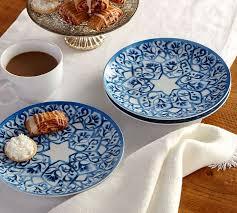 hanukkah plates rebekkah salad plate set of 4 pottery barn