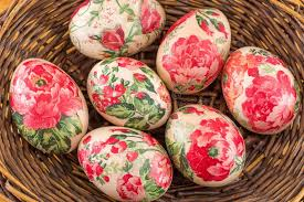 decorative easter eggs decorated easter eggs in a basket up stock image image of