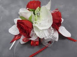 Corsage And Boutonniere For Homecoming Red White And Silver Orchid Wrist Corsage And Boutonniere Prom