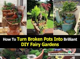 turn broken pots into fairy gardens jpg