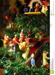 old fashioned christmas ornaments on a tree stock photo image