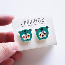 plastic stud earrings mr b the sea green shrink plastic stud earrings minifanfan