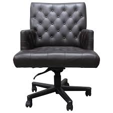 Leather Office Chair Front Viyet Designer Furniture Seating A Rudin Leather Tufted