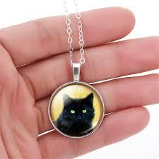 black cat pendant necklace images Black cat glass cabochon pendant necklace with silver bronze chain jpg