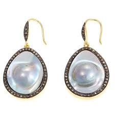 pearl and diamond drop earrings rarities jewelry with carol brodie mabe pearl and diamond