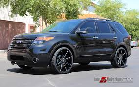 Ford Explorer 2014 - 24 inch dub push gloss black milled wheels on 2014 ford explorer w