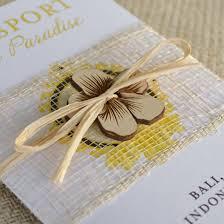 wedding gift indonesia hibiscus flower passport wedding invitation bali