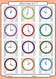 telling time worksheet what time is it stock vector art 695072238