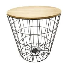storage wire basket table natural u0026 black kmart formal