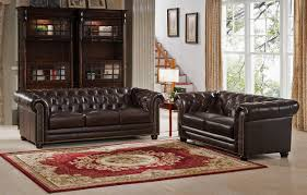 Amax Kensington Top Grain Leather Chesterfield Sofa And Loveseat - Chesterfield sofa and chairs