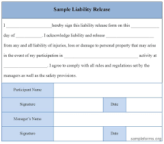 release of liability form sample release of liability form