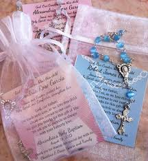 baptism favor ideas baptism favors rosaries in mini organza bag and card