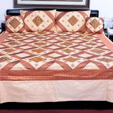 buy embroidered brocade silk double bed cover set 320 online