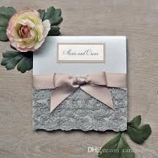 folding wedding invitations silver rosette wedding invitations square folding pocket invite