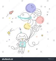 nursery art cute little handdrawn cat stock vector 659827183