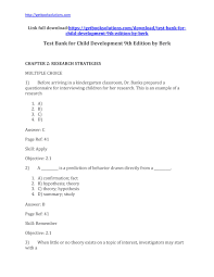 test bank for child development 9th edition by berk child