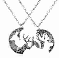 vintage necklace styles images Couple necklaces vintage coin jigsaw design 2 styles elk deer jpg