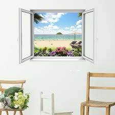 the little unique boutique open window beach scene 2 3d wall art the little unique boutique open window beach scene 2 3d wall art decal vinyl mural add a stunning view through a new window in your home amazon co uk