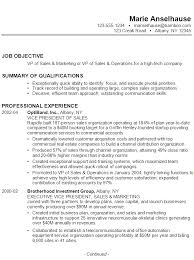 resume job objectives resume for vp of sales marketing operations susan ireland resumes