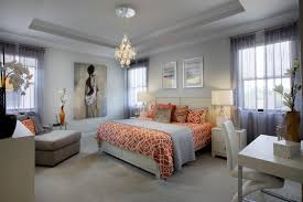 madison pointe dream bedroom modern white and orange