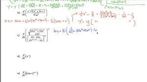 logarithmic differentiation worksheet 2 youtube