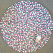 felt ball rug in sand white light pink pink mint u0026 turquoise