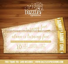 prrintable pink and gold glitter ticket birthday invitation