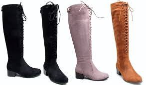 womens knee high boots uk suede knee high boots shoes block heel lace up boot