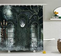amazon com horror house decor shower curtain by ambesonne moon