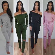 womens off shoulder long sleeve rip knee lounge wear tracksuit