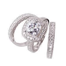 Cubic Zirconia Wedding Rings by Amazon Com 3pc Princess Cushion Cut Cubic Zirconia Halo Bridal
