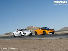 tesla roadster sport 2010 tesla roadster sport vs 2011 porsche boxster spyder wallpaper