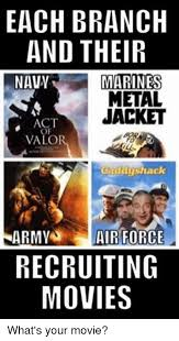 Army Recruiter Meme - each branch and their navy marines metal jacket act valo hack army