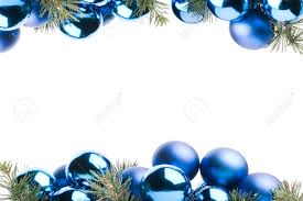 frame made with blue christmas baubles and pine leaves isolated
