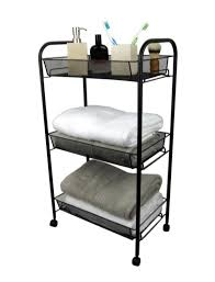 Bathroom Storage Cart 3 Tier Bathroom Storage Trolley Toiletry Linen Cart Black Metal