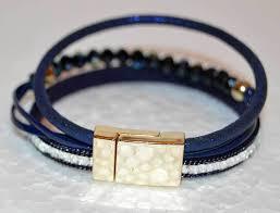blue leather bracelet images Decenarios cool multi strand blue bracelet with czech crystal beads jpg