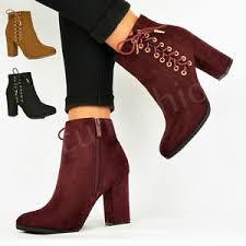 s heeled ankle boots uk womens ankle boots booties side zip lace block heel