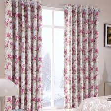Buy Discount Curtains Country Pink Floral Jacquard Bedroom Beautiful Lined Curtains