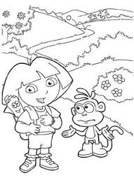dora explorer coloring boots dancing coloring pages