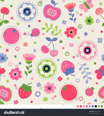 cute flower butterfly ladybug cherry strawberry stock vector